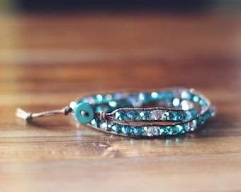 Double wrap bracelet - crystal faceted glass beads - teal and silver