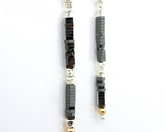 Black ceramic earrings with Gold filled & silver beads
