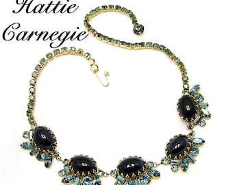 HATTIE CARNEGIE Vintage Necklace Huge Dark Blue Cabochons & Light Blue Rhinestones