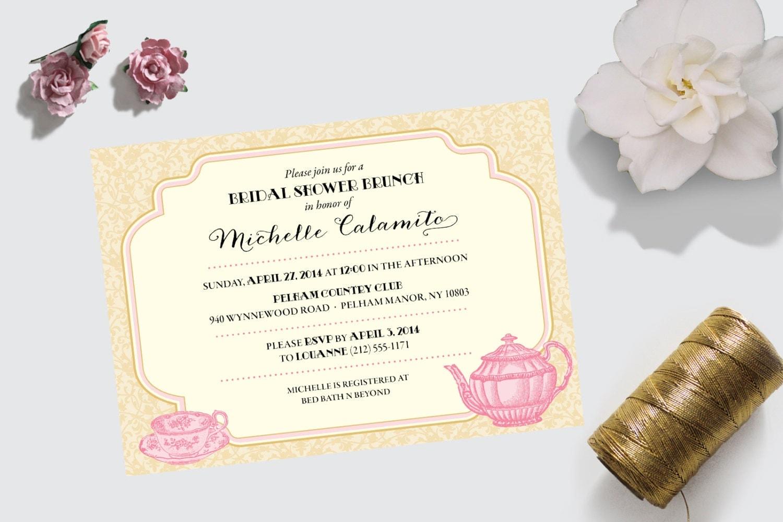 Vintage Tea Party Wedding Invitations: Bridal Shower Invitation Vintage Tea Party Theme DEPOSIT