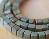 6mm Cube Beads - Silver Mist Jasper  (24 beads) Jewelry Making Supplies