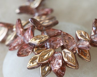 Czech Glass Leaf Beads - Glass Leaves - Jewelry Making Supplies - Craft Supplies  5x10mm (25 Pieces) Apollo Gold