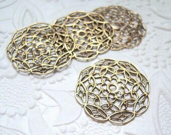 Antiqued brass round  filigree stamping-lot of (2)- AC134