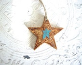Rustic Western Star Polymer Clay Ornament with Tooled Leather Texture, Country Christmas Holiday Decor Gift, Antique Copper Turquoise Finish