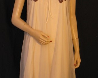Vintage 60s Val Mode Double Layer Babydoll Nightgown, Mocha with Brown Lace & Appliques, S - M