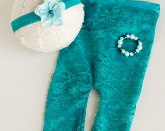 Newborn Lace Pants. Lace Pants. Newborn Pants. Leggings.Teal. Flower Tieback. Bracelet. Photograpy Prop. Headband. EVELYN.Tolola Design.
