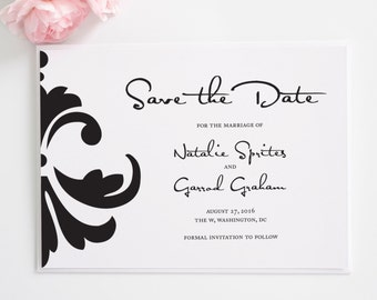 Contemporary Black Save the Date or Custom Wedding Announcement with Unique Damask for a Stylish, Chic Wedding  - Damask Accent Deposit
