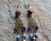 Gypsy earrings, Chandelier earrings, Bohemian jewelry, statement earrings, long dangle earrings, multicolored, colorful,purple ...