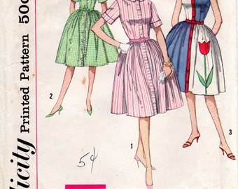 1960s Classic Shirtdress Vintage Pattern - Simplicity 4326 - Bust 31 1/2 or 33
