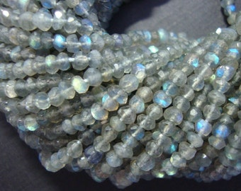 Organic cut, Fiery Flashing Blue Green Gold LABRADORITE Micro Faceted Rondelle, SALE, Full Strand ,3-4mm, f28-1