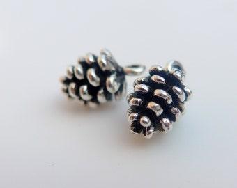 Pine Cone Dangle Charm Pendant, Oxidized 925 Sterling Silver, 9x5mm, 1 pc - PC-0027