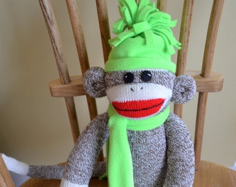 Traditional Sock Monkey Doll in Hat and Scarf