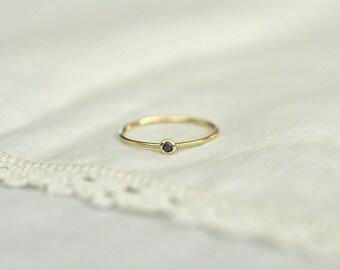 Yellow Gold and Black Diamond Ring