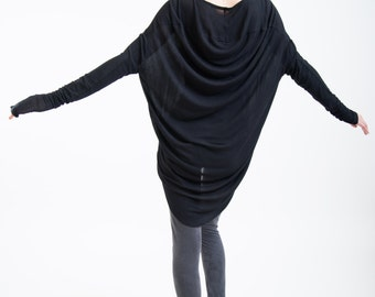 Black Tunic Cowl Back / Loose Top / Transparent Casual Shirt / Extravagant Tunic / Oversize Blouse / marcellamoda - MB094