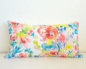 Watercolor Floral Lumbar Pillow, Pink, Blue & Yellow Hues, 12x21, Designer Fabric