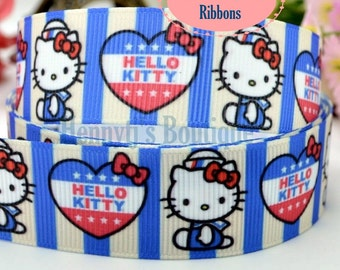 """4 yards: Hello Kitty Stripes Character Logo Brand Inspired July 4th Red White Blue Grosgrain Ribbon 7/8"""" inch wide. Gift Wrap. DIY Supplies"""