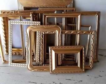 Painted Gold Picture Frames. Victorian Wedding Table Number Frames. Rustic Romance Collection of 12