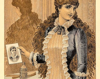 """Vintage Giclée Reproduction of Postcard """"Hall's Hair Renewer""""  - 13""""x19"""""""