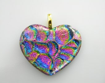 VALENTINE HEART Dichroic fused glass pendant handmade SYB13