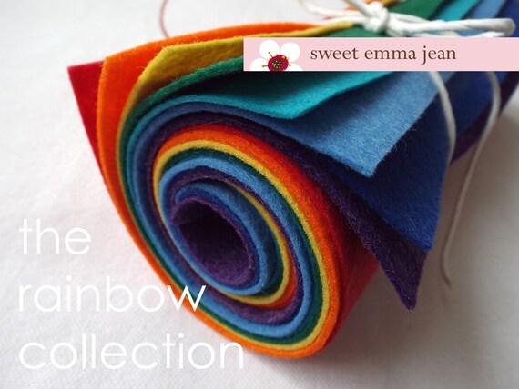 9x12 Wool Felt Sheets - The Rainbow Collection - 8 Sheets of Felt