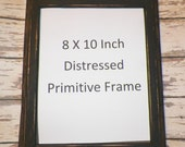 Primitive Wooden Rustic Picture Frame Black Painted Wood Distressed 8 x 10 Grungy Prim Country Home Decor Accent Framing Grungy wvluckygirl
