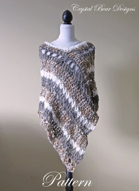 Crochet Poncho PATTERN / Asymmetrical Poncho / Striped ...