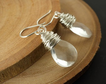 Crystal Quartz Wrapped Sterling Silver Earrings