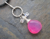 Hot Pink Chalcedony and Swarovski - Hard Candy -  Briolette Charm Pendant in Sterling
