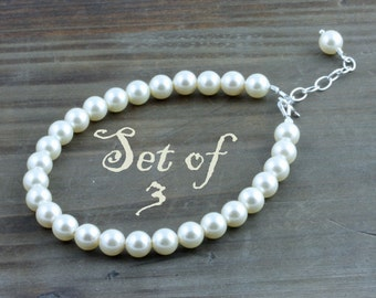Bridal Party Pearl Bracelets, Set of 3, Classic Cream or White Swarovski Pearl Bracelet with Sterling Silver Findings