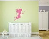 Fairy with magic wand Vinyl Wall Decal - Fairy Sillhouette Decal - Fairy with Magic Wand Wall Decal - Princess Magical Fairy Vinyl Decal