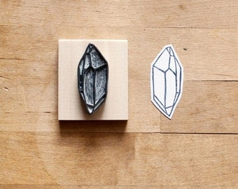 Raw Quartz No. 12 - Hand Carved Rubber Stamp