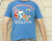 Vintage 70s-80s Peanuts Snoopy T-shirt U.S Space Academy Shirt Hipster shirt Space Camp