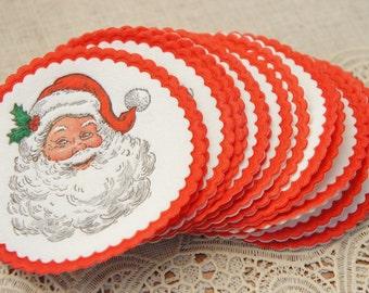 Vintage 60s-70s Santa Christmas Paper Coasters Retro Mid century