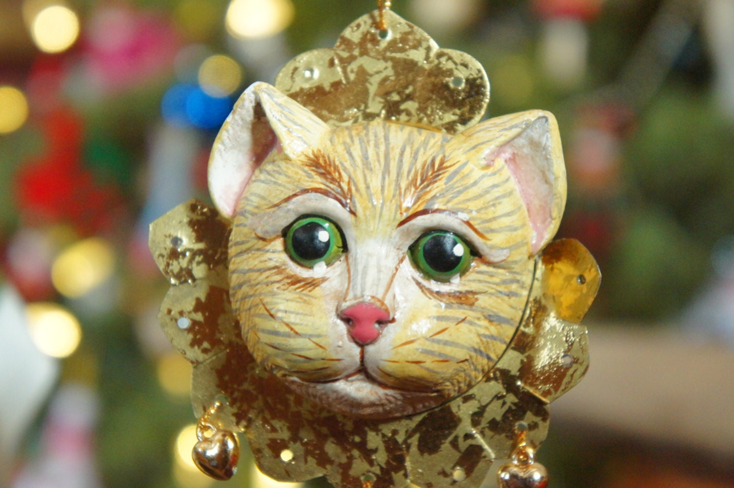 Vintage s cat ornament kitty face christmas