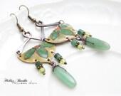 Enamel earrings - Green - copper - gemstones - cloisonne