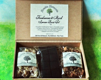 Frankincense and Myrrh Box Incense Resin Set with Natural Coconut Charcoal Sacred, Church, Spiritual Incense - Gift Under 30 for Him or Her