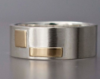 Gold and Silver Two Tone Unisex Wedding Ring - 8mm Wide Flat Band with Gold Accents for Men or Women - Through Thick and Thin