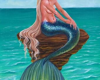 "Mermaid Fantasy Art Print ""She Remains"""