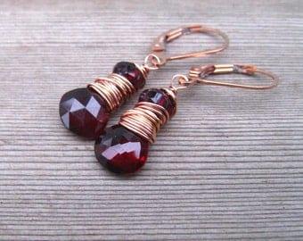 AAA Garnet Earrings,  Wire Wrapped in Rose Gold,   Burgandy Dangle Earrings,  January Birthstone, Mozambique Garnet Jewelry