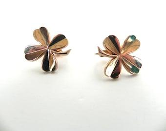 Vintage 1950s Clover Earrings / 50s gold Lucky Shamrock Accessocraft Earrings - on sale