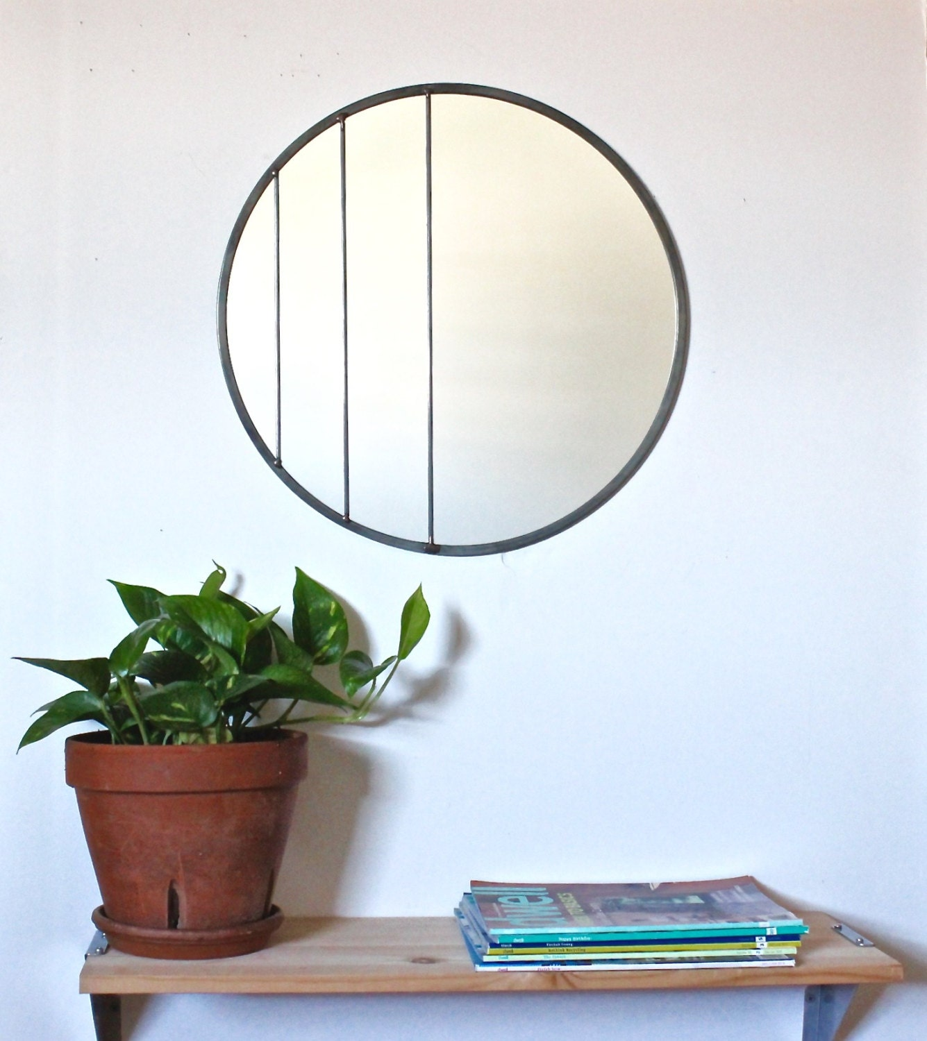 Circle mirror handmade leaded wall mirror round mirror oval for Big circle mirror