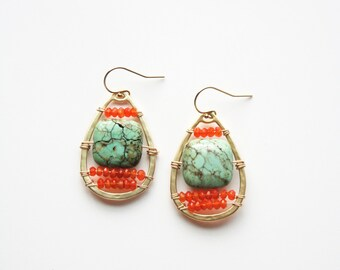 Turquoise Earrings, Boho Chic, Bohemian Earrings