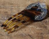 Victorian hair comb - antique mantilla comb - faux tortoiseshell - Art Nouveau - gilded - 1890s 1900s