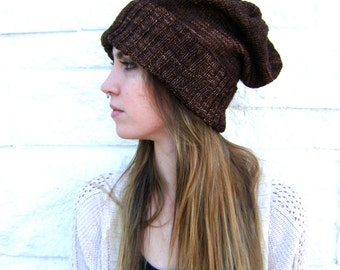 HALF OFF - Regular price 75 - Hand Knit Slouchy Hat - Will Fit Teens to Adult Woman or Man