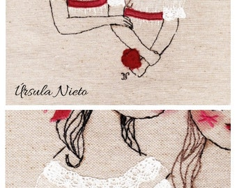 Snow White and Rose Red. Embroidery Art - Handmade Textile Art - Hand Stitched Embroidery.  Original hand embroidered. OOAK