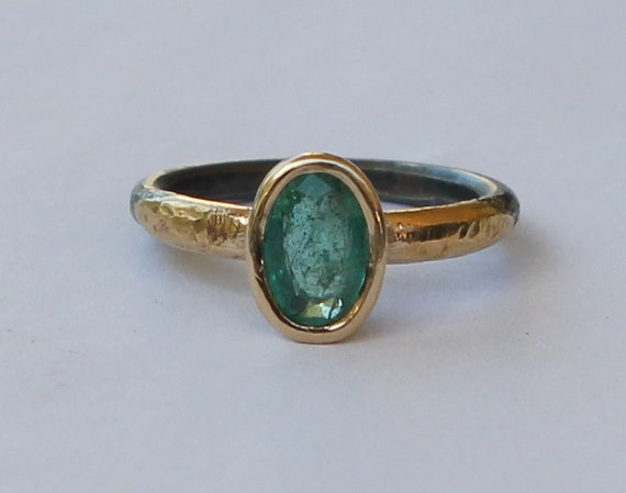 1.25 ct Natural Medium Dark Green Columbian Emerald Oxidized Sterling Silver And 18K Gold Ring SZ 7.5