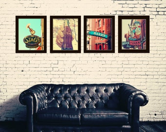 Nashville print set of 4 Coca Cola sign photography southern art red and aqua wall art Nashville Tennessee Industrial decor  Nashville art