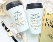 Blair and Serena BFF Mug Set / black and gold travel coffee mugs - gift - Blair Waldorf - Serena van der Woodsen - chuck bass gossip girl