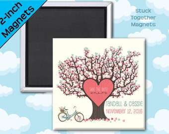 Save the Date Magnets - Love Tree - 2 Inch Squares - Set of 10 Magnets
