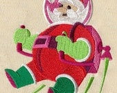 Christmas Astronaut Santa Embroidered White Towel or Quilt Block Square, Whimsical